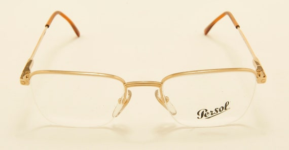 "Persol ""ABAN"" semi-rimless shape / golden frame / demo lenses / Made in Italy / 80s model / NOS / Vintage eyeglasses"