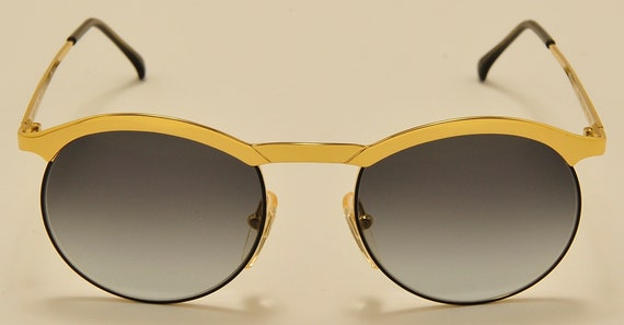 University 5608 by Filos round shape / golden frame / Made in Italy / NOS / gray gradient lenses / Vintage sunglasses