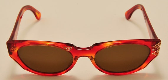 "Nouvelle Vague ""Heather50"" cat eye shape / acetate frame / chic side details / NOS / Made in Italy / Vintage sunglasses"