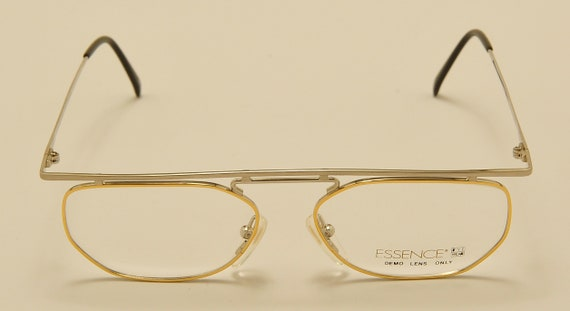"Essence ""658-Diaco"" squared shape / steel golden frame / nice design / NOS / 80s / Made in Japan / Vintage eyeglasses"