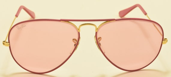 Ray Ban Large Pink Ladies / aviator shape / metal frame / 80s / NOS / rare limited model / pink B&L mineral lenses / Vintage sunglasses