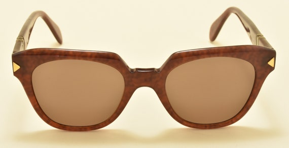 Persol Ratti mod.316 hand made frame / red havana shade frame / NOS / 18KT Gold Plating / Made in Italy / 80s / Vintage sunglasses