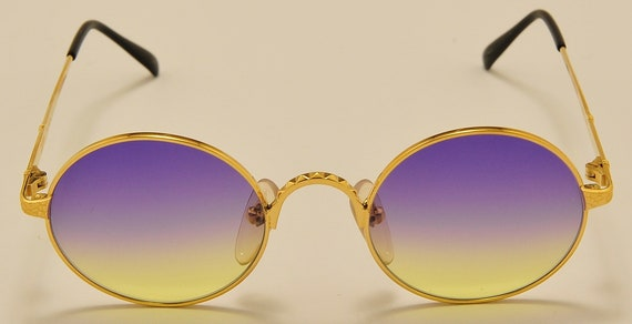 Jean Paul Gaultier 55-9671 round shape / 22K Gold Plated / gradient bicolor lenses / nice details / NOS / Made in Japan / Vintage sunglasses
