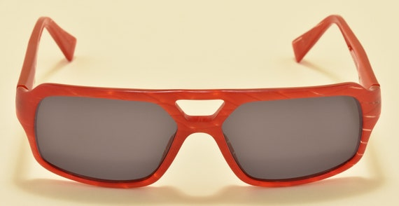 Alain Mikli AL112729 squared shape / nice red acetate frame / NOS / Hand made in France / Vintage sunglasses