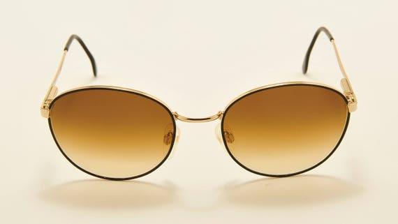 Marcolin 6156 round shape / golden frame / elegant taste / 90s model / NOS / Made in Italy / brown gradient lenses / Vintage sunglasses