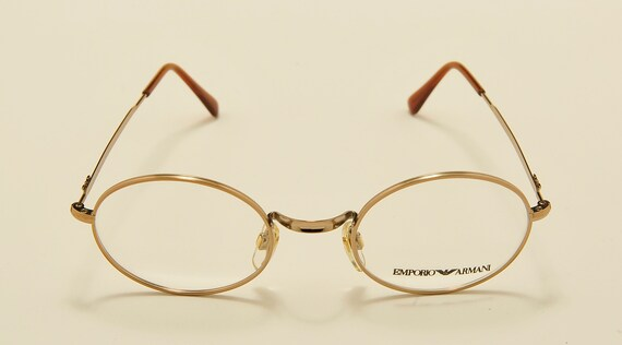 Emporio Armani 012 round shape / golden frame / 80s model / NOS / Made in Italy / demo lenses / Vintage eyeglasses