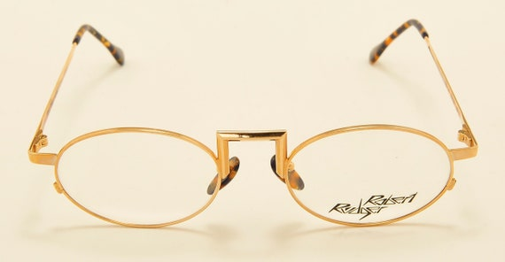 Robert Rudger 410-81 oval shape / golden frame / Made in Austria / demo lenses / 80s model / NOS / Vintage eyeglasses