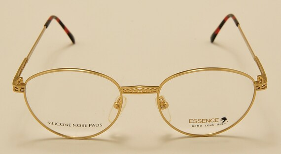 "Essence ""Diaco 516"" oval shape / matt gold frame / NOS / Made in Japan / fine details / silicone nose pads / Vintage eyeglasses"