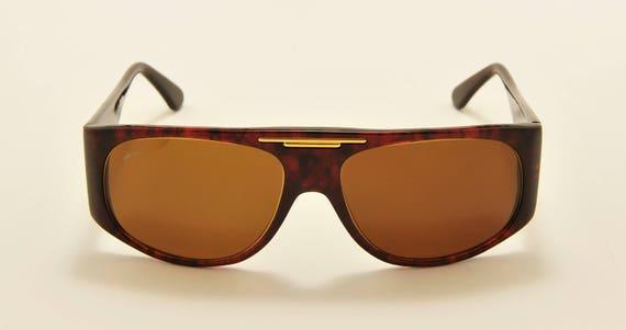 Galileo S4 squared shape / acetate frame / golden details / original glass lenses / 80s model / NOS / Made in Italy / Vintage sunglasses