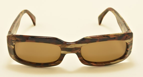 Alain Mikli 3327 COL2095 squared shape / nice combination acetate plates / NOS / 90s / Hand made in France / Vintage sunglasses