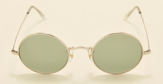 "ALGHA ""Savile Row"" round shape / 12KT White gold filled frames / Handmade in England / NOS / original case collection / Vintage sunglasses"