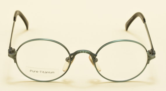 Jean Paul Gaultier 55-4181 round shape / green titanium frame / nice design / logo JPG details / NOS / Made in Japan / Vintage eyeglasses