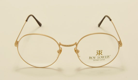 "Roy Tower ""Preppy 49 GY"" round shape / golden light frame / 80s model / NOS / Made in Italy / demo lenses / Vintage eyeglasses"