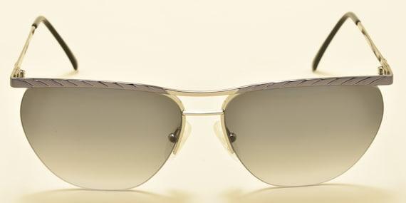 Laura Biagiotti V163 squared shape / semi rimless frame / elegant steel / 90s / NOS / Made in Italy / Vintage sunglasses