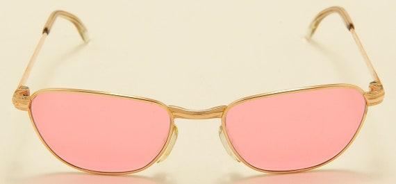 "Marwitz 130 ""pink lenses"" Clubmaster style shape / golden frame / 70s model / NOS / vintage sunglasses"