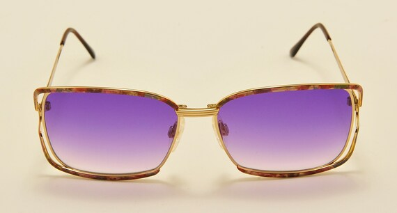 "Yves Saint Laurent ""Y158"" squared shape / golden fantasy frame / Made in Italy / NOS / purple gradient lenses / Vintage sunglasses"