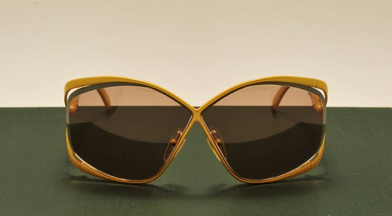 Christian Dior 2056 oversized shape / yellow gold butterfly / optyl and metal frame / 80s / NOS / Made in Germany / Vintage sunglasses