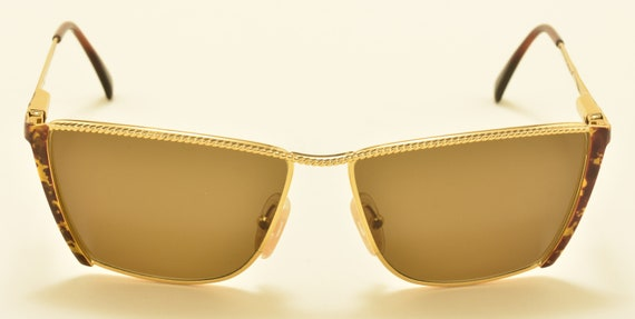 Laura Biagiotti V182 squared shape / golden frame / cool details / exclusive model / 90s / NOS / Made in Italy / Vintage sunglasses