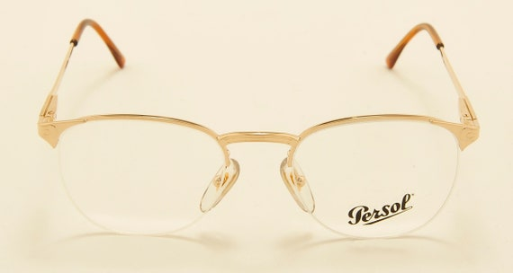 "Persol Ratti ""ALCOR"" classic shape / golden frame / demo lenses / Made in Italy / 80s model / NOS / Vintage eyeglasses"