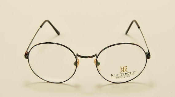 "Roy Tower ""Preppy 49 GR"" round shape / metal light frame / 80s model / NOS / Made in Italy / demo lenses / Vintage eyeglasses"