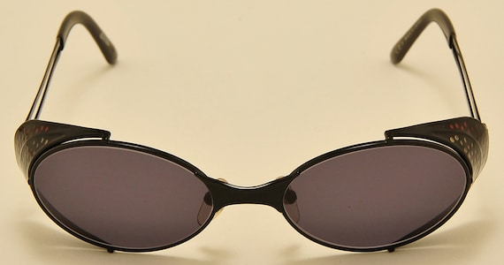 Jean Paul Gaultier 56-7109 oval shape / black metal frame / rare model / amazing details / NOS / 90s / Made in Japan / Vintage sunglasses