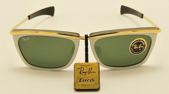Ray Ban Olympian II B&L USA / white pearl  black and gold frame / NOS / 80s / unisex model / rare limited edition / Vintage sunglasses