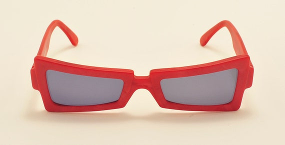 Robert La Roche mod. S75 squared shape / red acetate frame / 80s / NOS / Made in Austria / Vintage sunglasses