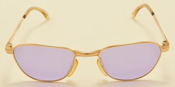 """Marwitz 130 """"violet lenses"""" Clubmaster style shape / 70s model / golden frame / NOS / vintage sunglasses"""