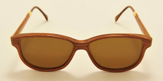 WOODLOOK MO2402 classic ladies shape / handcrafted wood frame / new lenses / Made in France / 80s model / NOS / Vintage sunglasses