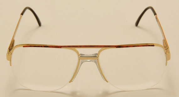 P.O.P. Diplomate aviator square shape / golden frame / fine details / ergonomic bridge / 80s / NOS / Made in Italy / Vintage eyeglasses
