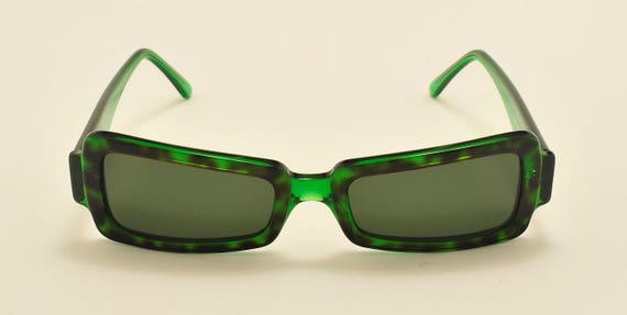 Robert La Roche mod. S 131 squared shape / green acetate frame / 80s / NOS / Made in Austria / Vintage sunglasses