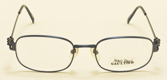 Jean Paul Gaultier 55-6107 square shape / blue metal frame / cool design / JPG details / NOS / 90s / Made in Japan / Vintage eyeglasses