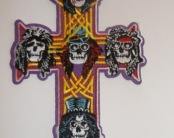 "Guns 'n Roses~PATCH~Appetite for Destruction~Skull Cross (5 7/8"" x 4 1/4"") Embroidered~HUGE Color~Iron Sew~Free US Mail~Intl Mail Available"