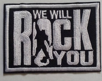 "Queen~British Rock & Roll~Patch~We Will Rock You (3 1/8"" x 2 1/4"") Embroidered Appliqued Iron Sew on~FREE US Mail~International Extra"