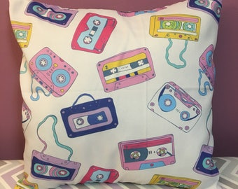 Retro Cassette Tapes 18x18 Decorative Pillow