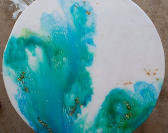 Jellyfish Original Resin and Alcohol Round Abstract Wall Art on Wood