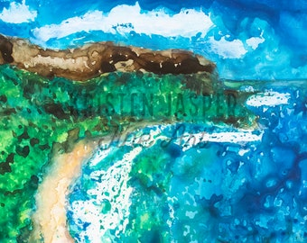 Hanalei Bay Original Watercolor on Yupo Paper, with Pastel