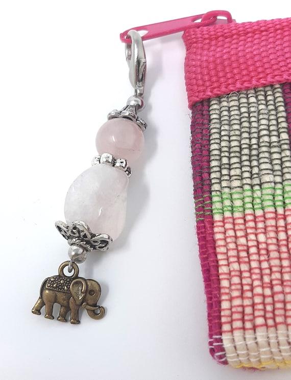 Coin Purse with Zipper Pull OM Symbol Purse Charm Heart Stone Purse Charm Roze Quartz Zipper Pull Zipper Pull OM Symbol Zipper Pull