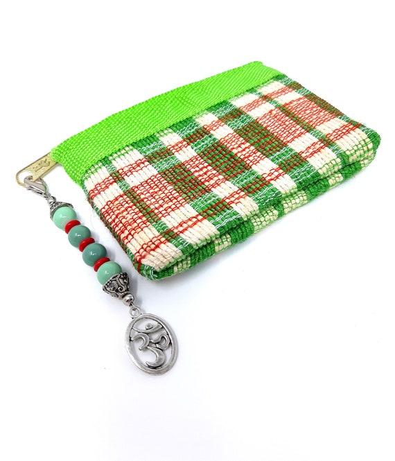 Zipper Pull Chrysocolla Coin Purse with Zipper Pull OM Symbol Purse Charm Chrysocolla Healing Stone Purse Charm OM Symbol Zipper Pull