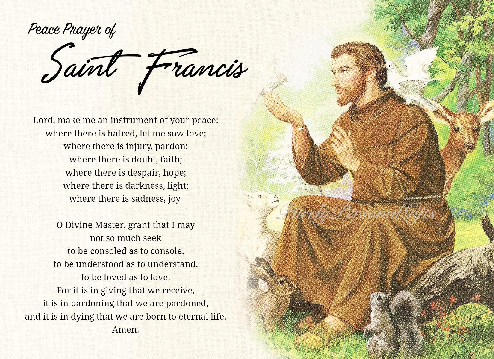 Printable St. Francis of Assisi Prayer Card Saint Francis ...