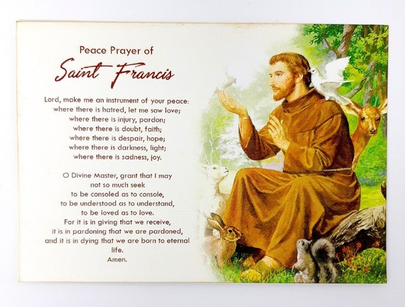 Beautiful St. Francis of Assisi Prayer Cards Saint Francis | Etsy