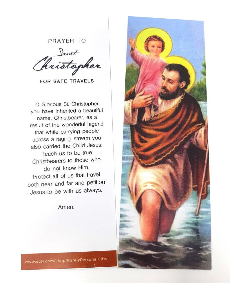 Saint Christopher Bookmark, St Christopher Bookmark, St Christopher Prayer,  St Christopher Novena, Patron Saint of Travelers and Children