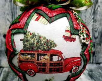 Vintage Red Woody Wagon Christmas Ornament | Red Woodie Ornament | Quilted Ornament | Christmas Ornament with Holiday Charm
