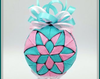 Pink and Blue Kaleidoscope Ornament | Cotton Candy Kaleidoscope Inspirational Ornament | Quilted Christmas Ornament, Enjoy Everyday Ornament