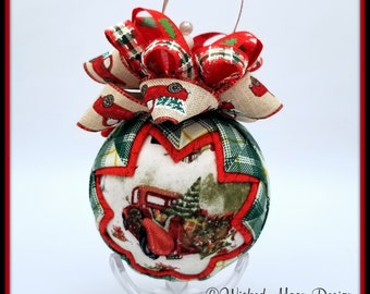 Red Farm Truck Christmas Ornament, Red Truck Quilted Christmas Ornament, Bringing Home the Christmas Tree Ornament