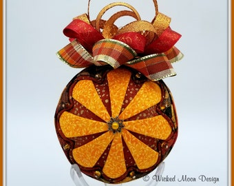 Fall Seasonal Ornament, Fall Ornament, Autumn Ornament, Sparkling Sunflower Zinnia Inspired Ornament, Autumm Fall Accent Ornament