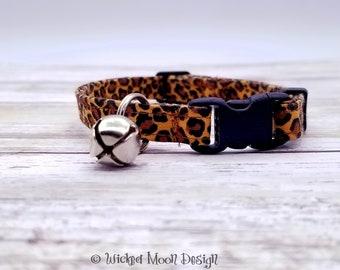 Leopard Print Cat Collar, Jungle Cat Collar, In the Wild Cat Collar, Cat Collar with Jingle Bell