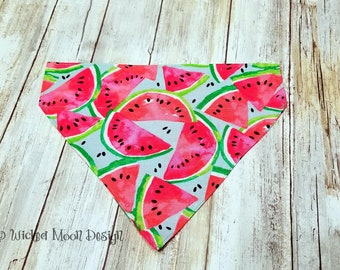 Watermelon Pet Bandana, Over the Collar Bandana, Wearable Gift for your Pet, Summer Bandana, Watermelon Cat Bandana, Reversible Bandana