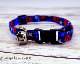 Patriotic Paw Print Cat Collar, Independence Day Cat Collar, Freedom Paws Cat Collar, Cat Collar with Jingle Bell, Red White Blue Cat Collar