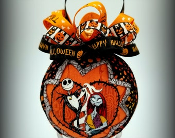 Jack Skellington and Sally Ornament. Nightmare Before Christmas Ornament, Handcrafted Quilted Ornament,
